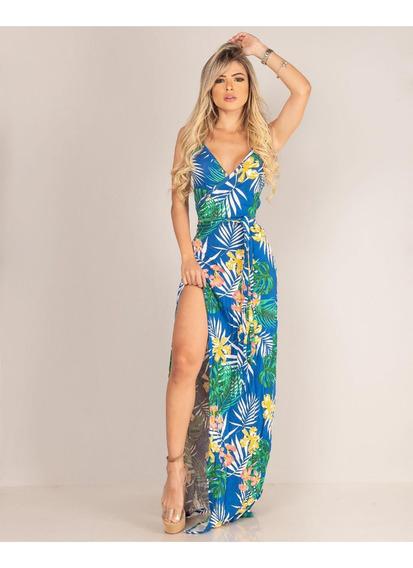 Vestido Longo Florido Feminino/viscolaycra