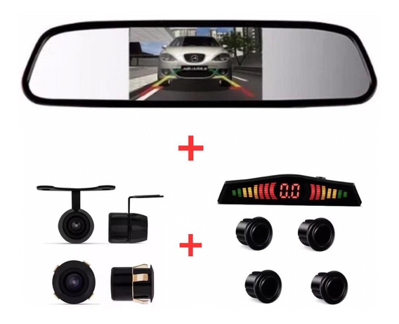 Kit Retrovisor + Câmera 2x1 + Sensor Ré Preto Ecosport