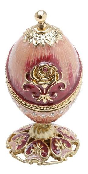 Porta-jóias Ovo Fabergé Oval Com Pé De Zamac Vermelho 6x6x11