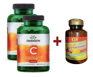 2 Vitamina C Swanson (180cap X 1gr) + Vit C (400un X 100mg)