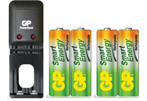 Imagen 1 de 1 de Cargador Gp + 4 Baterías Pilas Aa 1000 Mah Recargables Promo