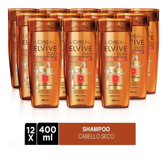 Pack 12x Shampoo Elvive Oleo Extraordinario L