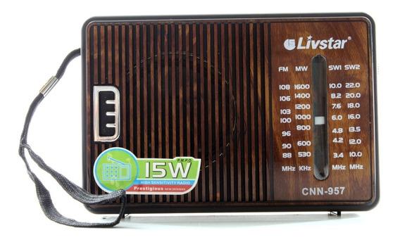 Radinho De Pilha Portátil Vintage Am Fm Livstar Cnn-957 15w