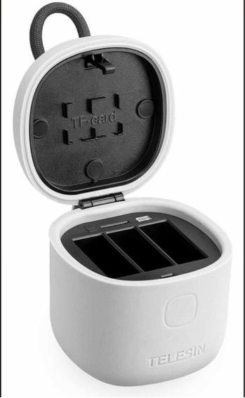 Carregador Triplo Com 2 Baterias Para Gopro Telesin