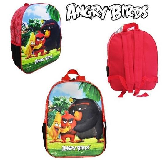 Mochila Escolar Angry Birds Turma 3d Costas Santino Meninos