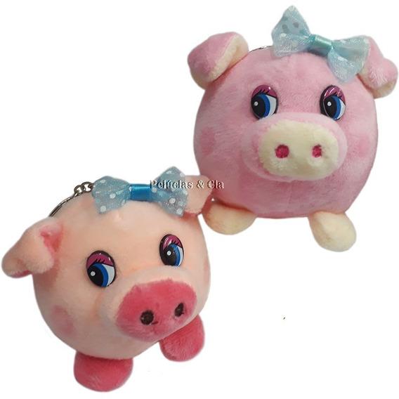 Mini Chaveiro Porco Porquinho Bolão De Pelúcia - 06peças
