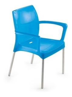 Poltrona Milena Azul C/ Pernas Alumínio