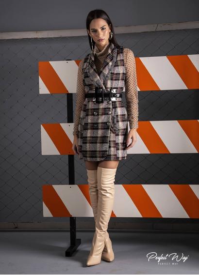 Vestido Curto Transpassado + Cinto Preto / Prata Perfect Way
