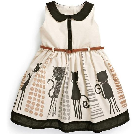 Vestido Para Niña Fresco De Gato