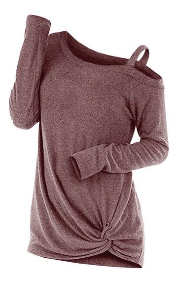 Manga Larga Corte Pullover Nudo Sesgado Cuello Suéter