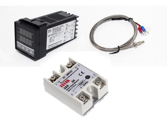 Controlador Temperatura + Sensor K + Relé Estado Sólido 25a