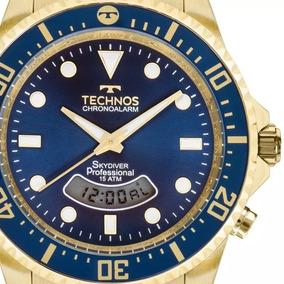 Relógio Technos Masculino Skydiver Dourado E Azul T205jd/4a