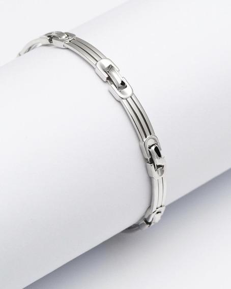 Bracelete Masculino De Ouro Branco 18k Tam. 21 Cm I Pulseira Masculina