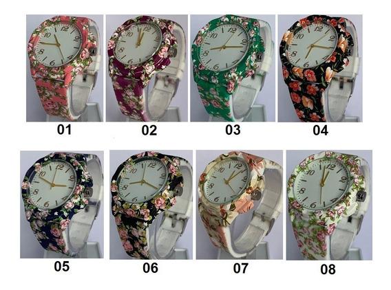 Kit 8 Relógios Femininos Florido Uma Unidade De Cada Cor