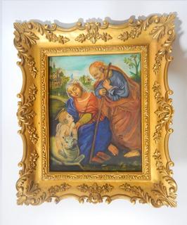 Cuadro Antiguo Imagen Religiosa Pintura Oleo Sobre Lienzo