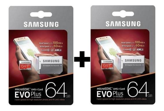 2 X Cartão Samsung Micro Sd Evo Plus 64gb 100mbs +adapt