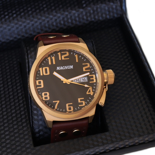 Relógio Magnum Masculino Couro Marrom Original Nota Fiscal