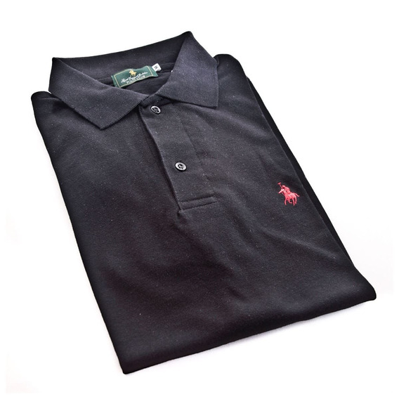 Playera Polo Club Mc Liso Algodón Gd Negro
