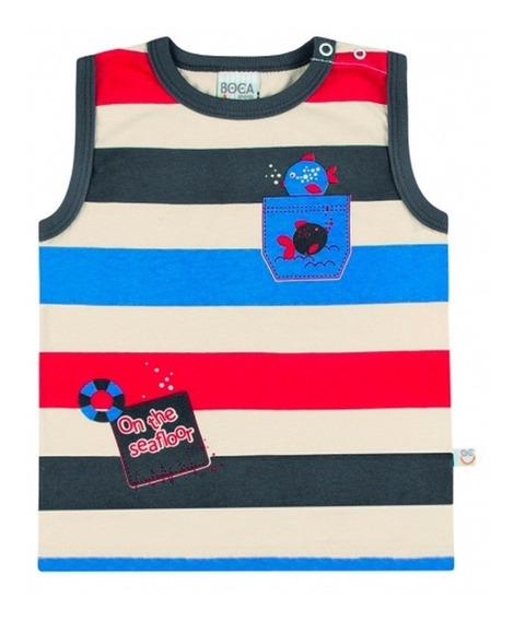 Regata Infantil Masculina Listrada Camiseta Bebê Bg17765