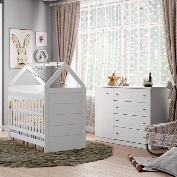 Quarto De Bebê Americano Berço Mini Cama Cômoda 4 Gavetas