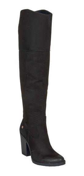 Calzado Bota Alta Dama Mujer Invierno Invernal Gamuza Negro