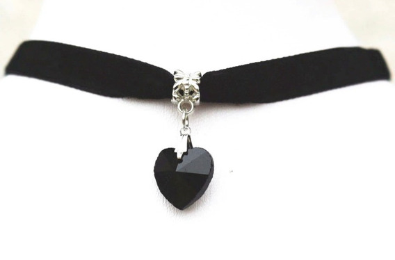 6 Colar Crocker Veludo Preto Com Coração Negro