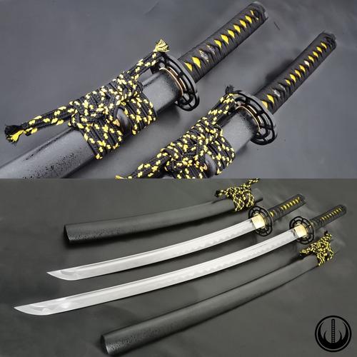 Imagem 1 de 12 de Conjunto Katana Wakizashi Daisho Espada Samurai Aço 1060