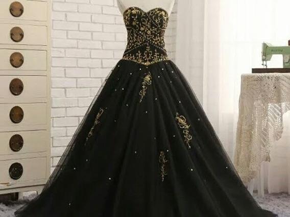 Vestido De Fiesta O Xv Años, Negro Con Decoraciones