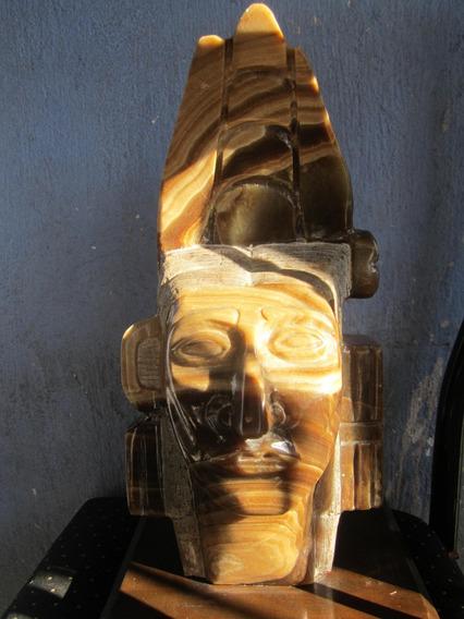 Guerrero Azteca Olmeca Calavera Cristal Cuarzo Busto Maya