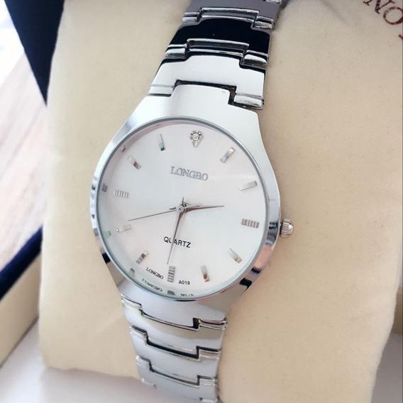 Relógio Feminino Prateado Longbo A019 Casual Elegante Barato