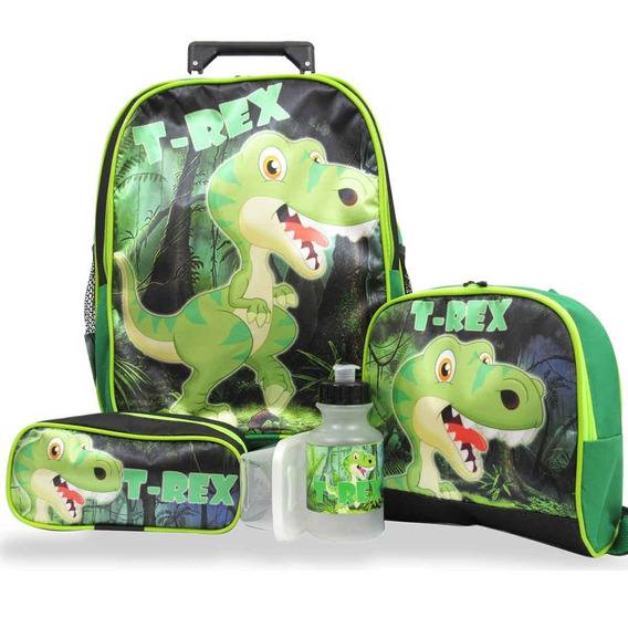 Kit Escolar Infantil Mochila Rodinhas Dinossauro T Rex Tam G