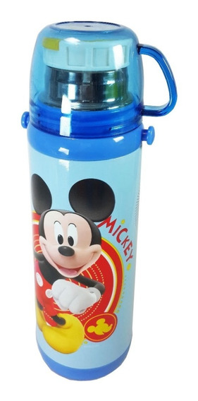 Garrafa Térmica Infantil Criança Mickey Azul Canudo Copo Aço