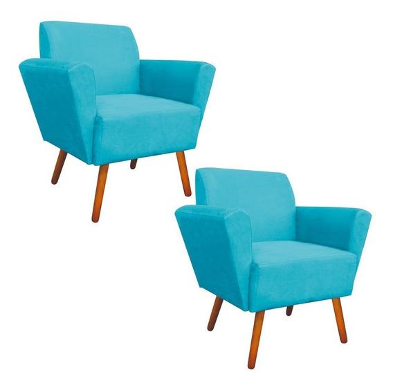 Kit 02 Poltronas Decorativa Dora Suede Azul Tiffany D