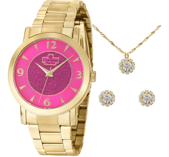 Relógio Champion Feminino Dourado Fundo Rosa + Kit