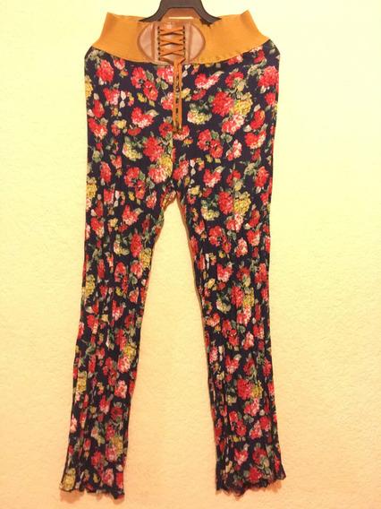 2 Pantalones De Flores Con Cinturón Playa M