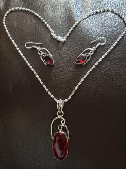 Collar, Plata 925,rojo Granate,nuevo,colgante,único, Vampiro