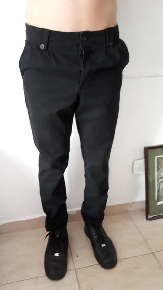 Pantalon Talle 38 Corte Chino Semi Chupin Gabardina