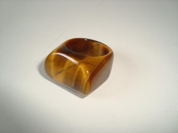 Anel Pedra Olho De Tigre Natural Polido Aro 13 - A21