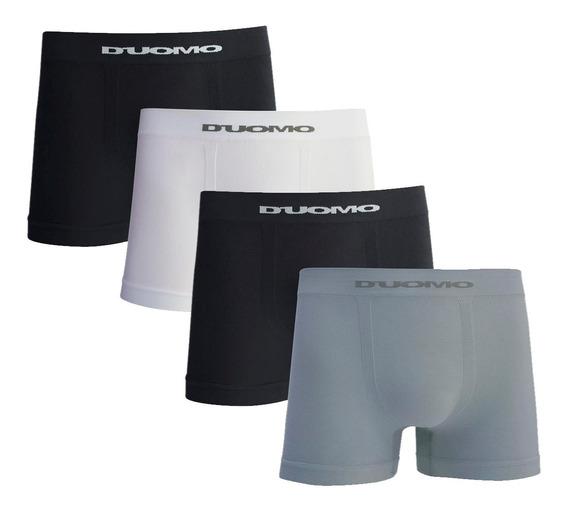 Kit Com 4 Cuecas Boxer Microfibra Sem Costura - Duomo