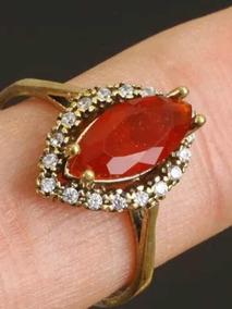 Anel Prata Turca 925, Com Pedra Natural Cristal Rubi