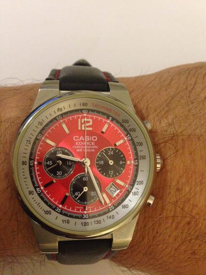 Relógio Casio Edifice Chronograph Wr 100m Vermelho-preto