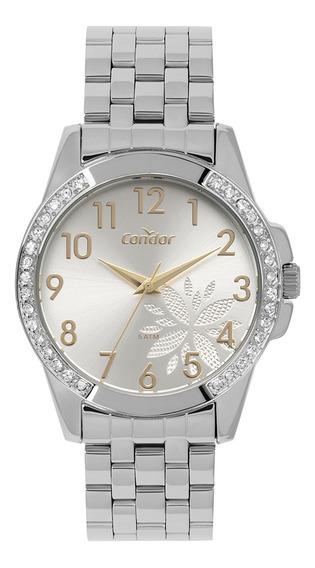 Relógio Condor Feminino Prata Flor Pedras Co2035mpa/3k