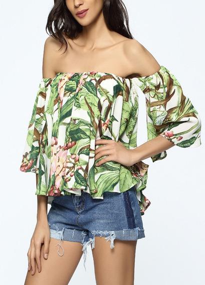 Adorável Flores & Folhas Patterns Impresso Blusa Pescoço D