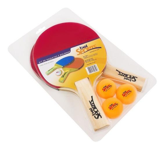 Kit Tenis De Mesa 2 Raquetes + 3 Bolinhas Bel Fix Ping Pong