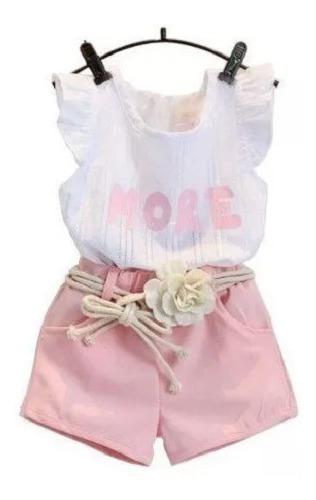 Conjunto Infantil Blusinha E Shorts Com Cinto - Maravilhoso!