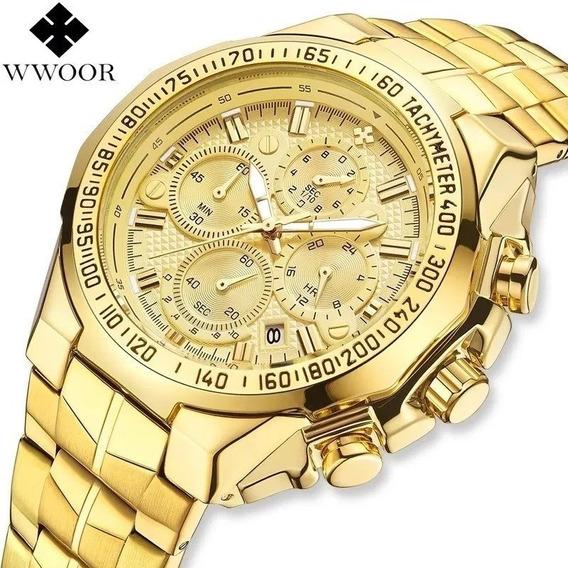 Relógio De Luxo Wwoor Dourado 100% Funcional Já No Brasil