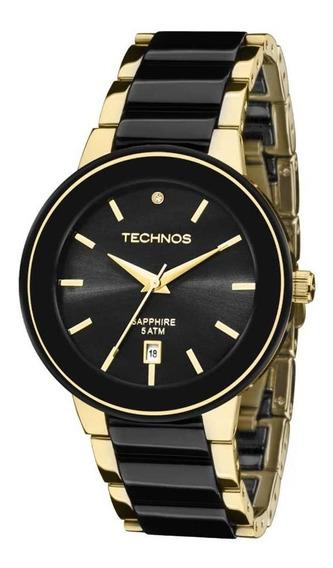 Relógio Technos Feminino Elegance Ceramic Dourado Preto