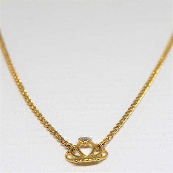 Gargantilha Coroa Princesa Ouro 18k Frete Grátis