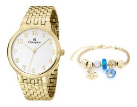 Relógio Champion Feminino Dourado Cn29911s Pulseira Berloque
