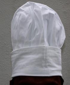 Gorro Blanco Pastelero Tipo Hongo Tela 100 % Algodón Blanco